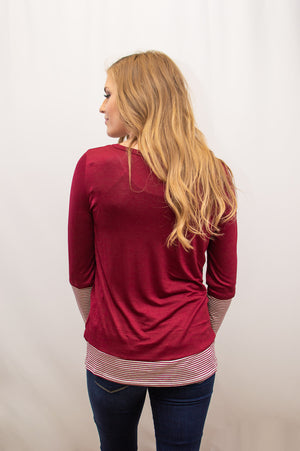 Pin Stripe Cuffed Knit Top | Burgundy - MOB Fashion Boutique