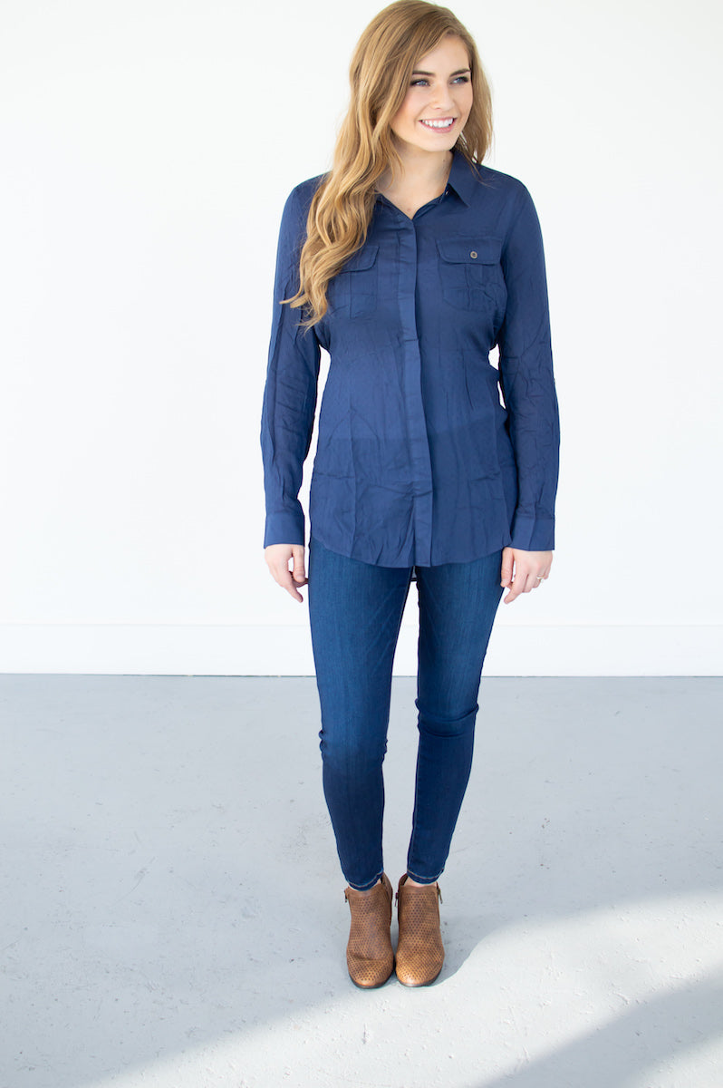 Button Down Tunic | Navy - MOB Fashion Boutique