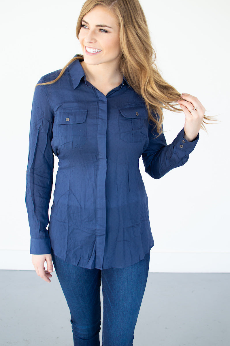 Tie Back Button Down Tunic | Navy - MOB Fashion Boutique