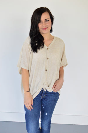 Button Down Front Knot Top | Oatmeal - MOB Fashion Boutique