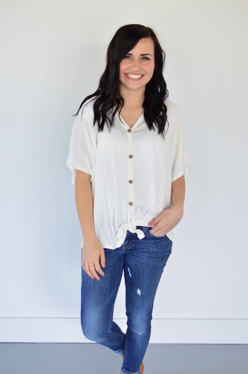 Button Down Front Knot Top | Ivory - MOB Fashion Boutique
