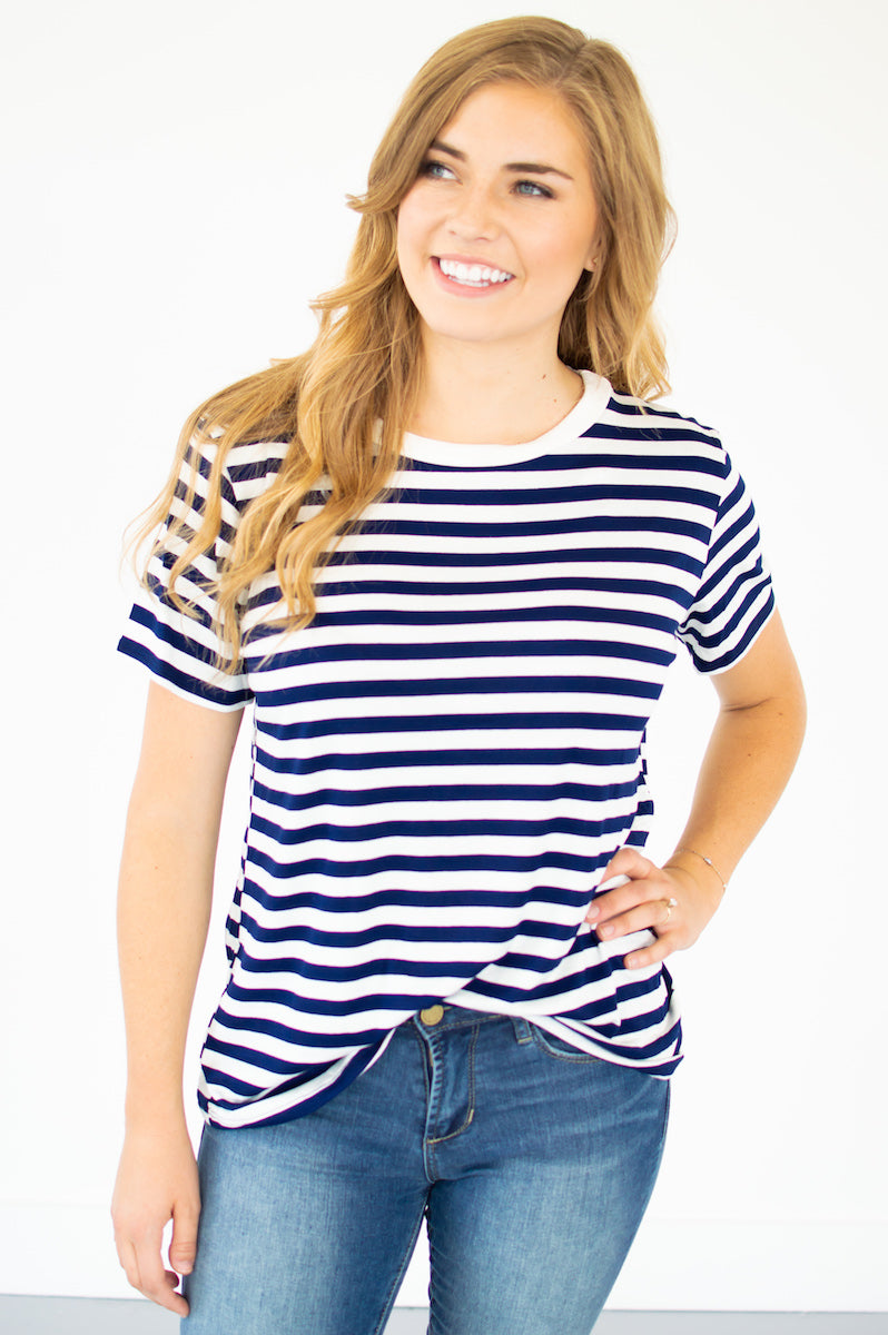 Navy and Ivory Striped Tee - MOB Fashion Boutique