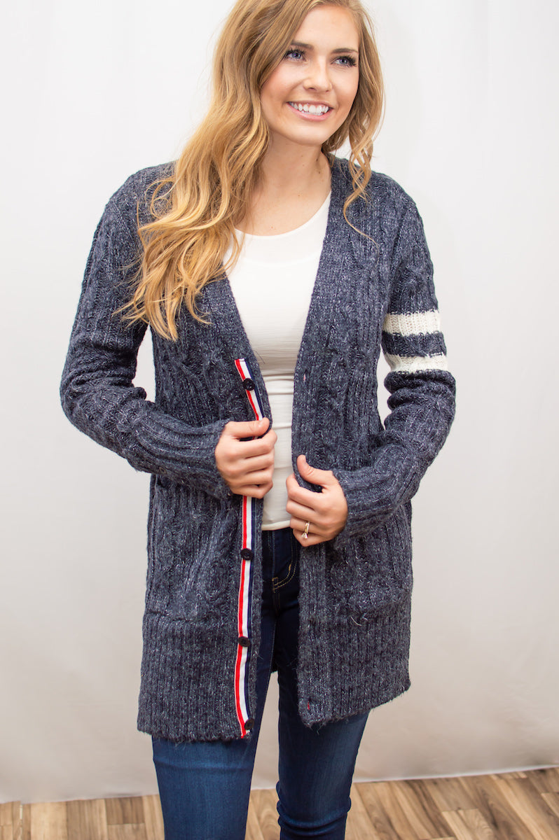 Varsity Cardi | Navy - MOB Fashion Boutique