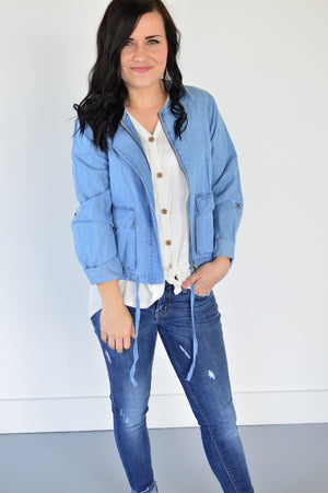 Spring Denim Bomber Jacket - MOB Fashion Boutique