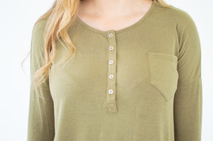 Henley Top | Olive - MOB Fashion Boutique