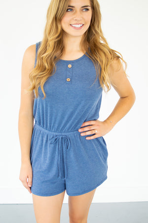 Henley Tank Romper | Denim Blue - MOB Fashion Boutique
