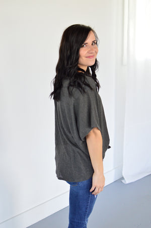 Button Down Front Knot Top | Charcoal - MOB Fashion Boutique