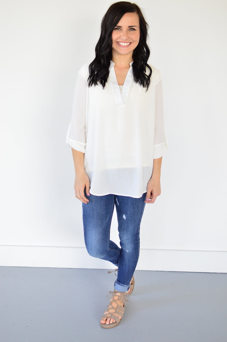 Ella V-neck Blouse - MOB Fashion Boutique