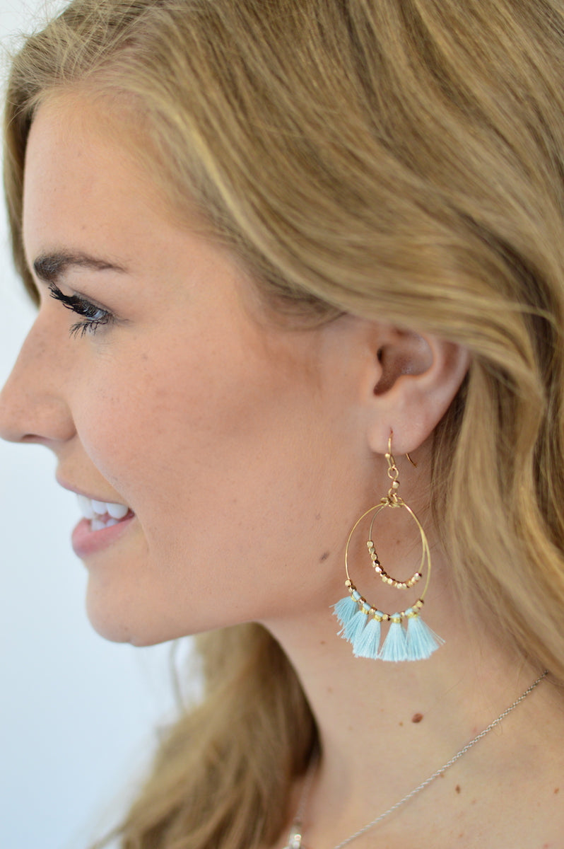 Double Tear Drop Tassel Earrings - MOB Fashion Boutique