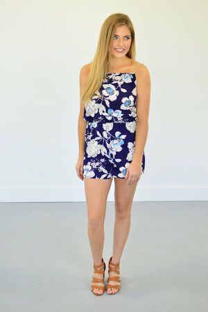 Navy Floral Romper - MOB Fashion Boutique