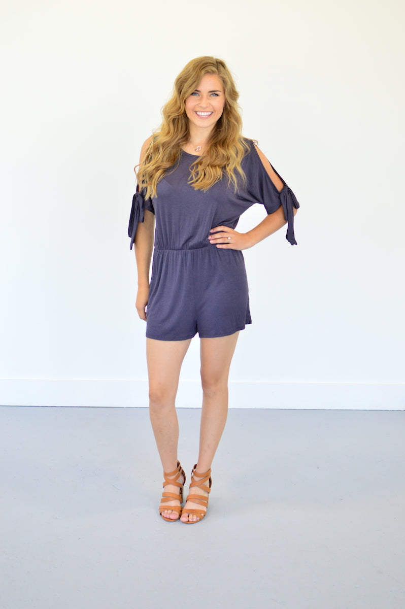 Cold Shoulder Romper | Charcoal - MOB Fashion Boutique