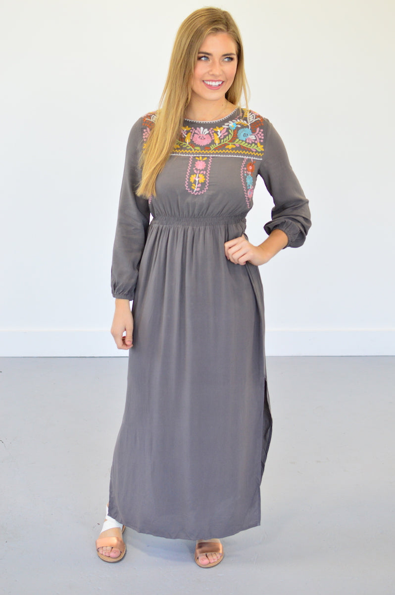 Embroidered Maxi | Charcoal - MOB Fashion Boutique