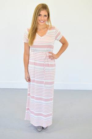 Jodi Striped Maxi | Blush - MOB Fashion Boutique
