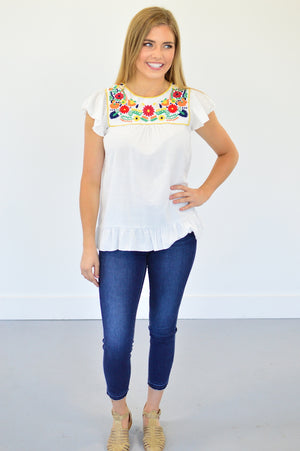 Macey Embroidered Blouse - MOB Fashion Boutique