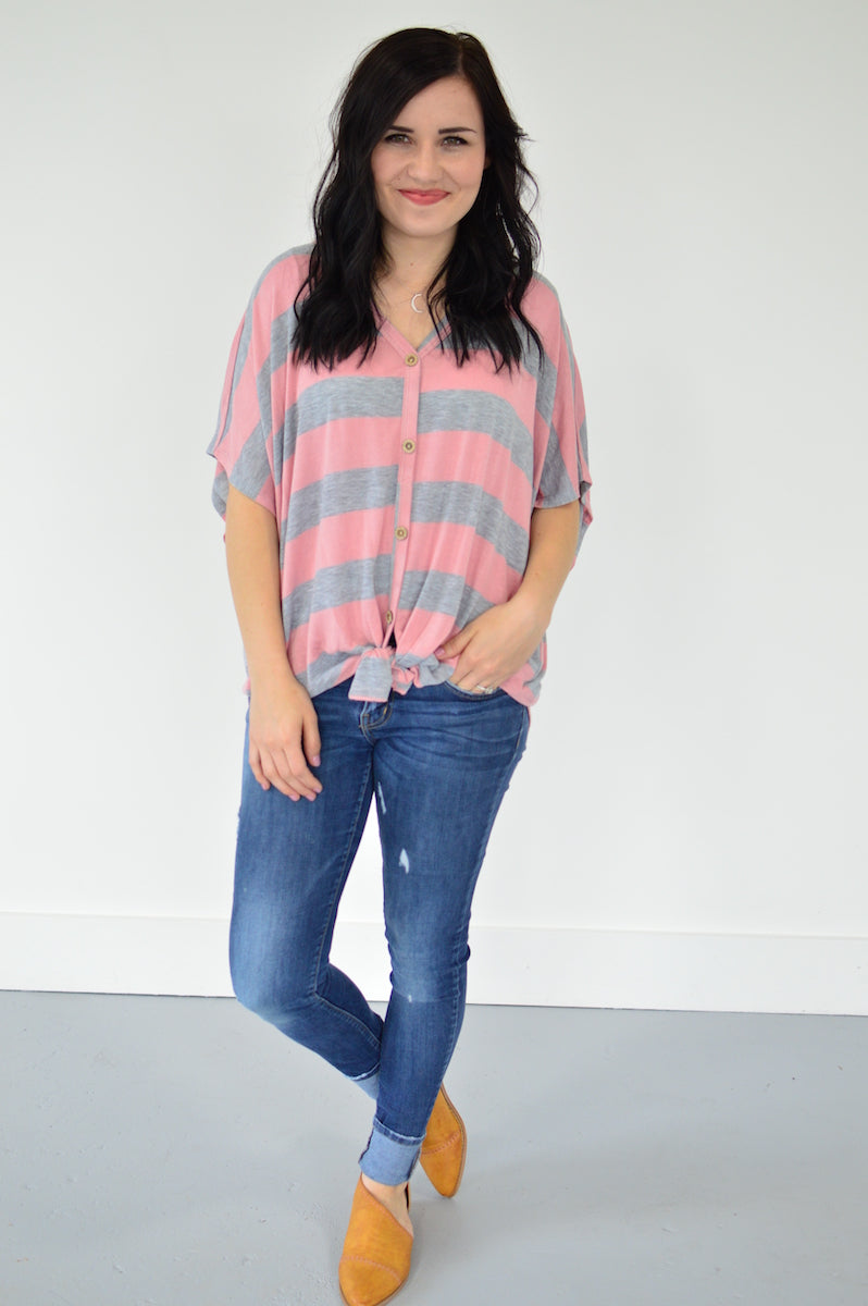 Button Down Front Knot Top | Pink Stripes - MOB Fashion Boutique