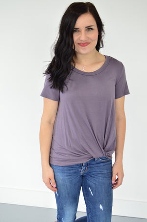 Twisted Knot Top | Smoky Purple - MOB Fashion Boutique