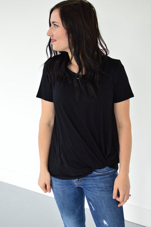 Twisted Knot Top | Black - MOB Fashion Boutique