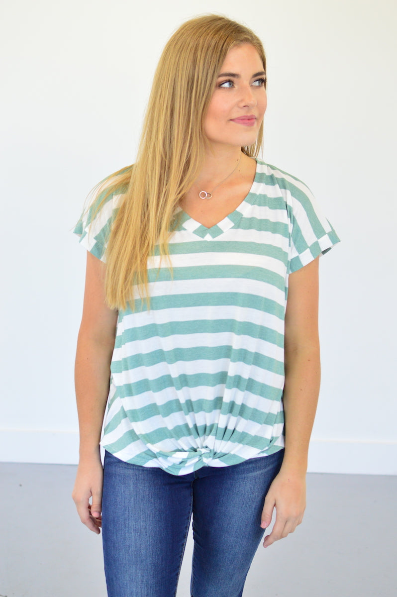 Twisted Knot Top | Sage Stripes - MOB Fashion Boutique