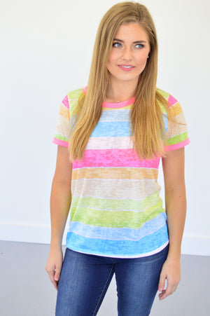 Bright Stripes Tee | Neon - MOB Fashion Boutique