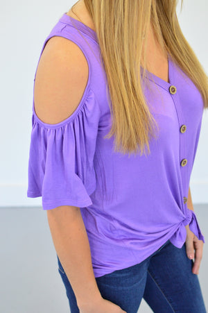 Front Knot Cold Shoulder Top - MOB Fashion Boutique