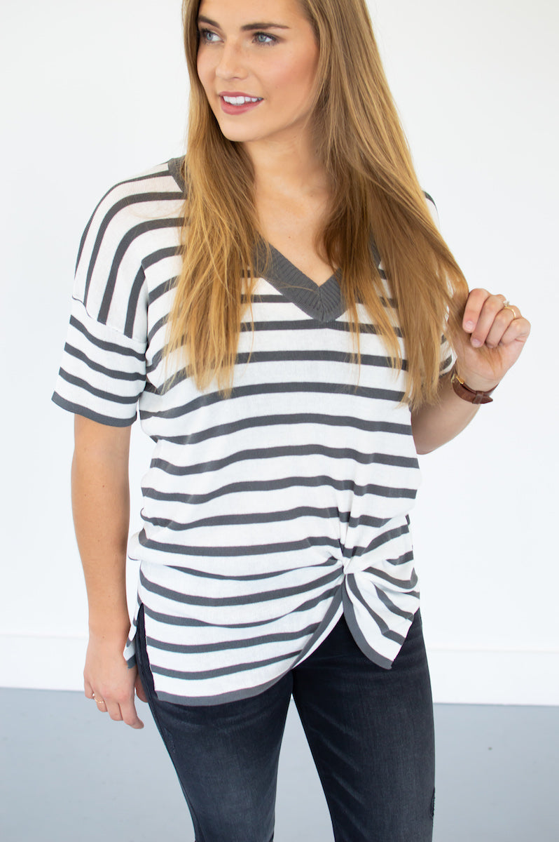 Charcoal Striped V-Neck - MOB Fashion Boutique