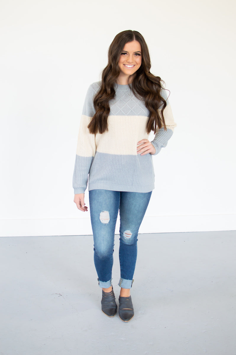Color Block Cable Knit Sweater - MOB Fashion Boutique
