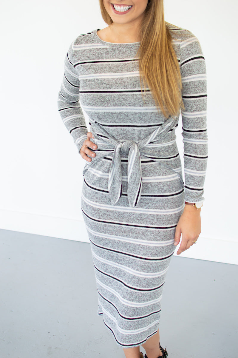 Striped Promises Knot Dress - MOB Fashion Boutique