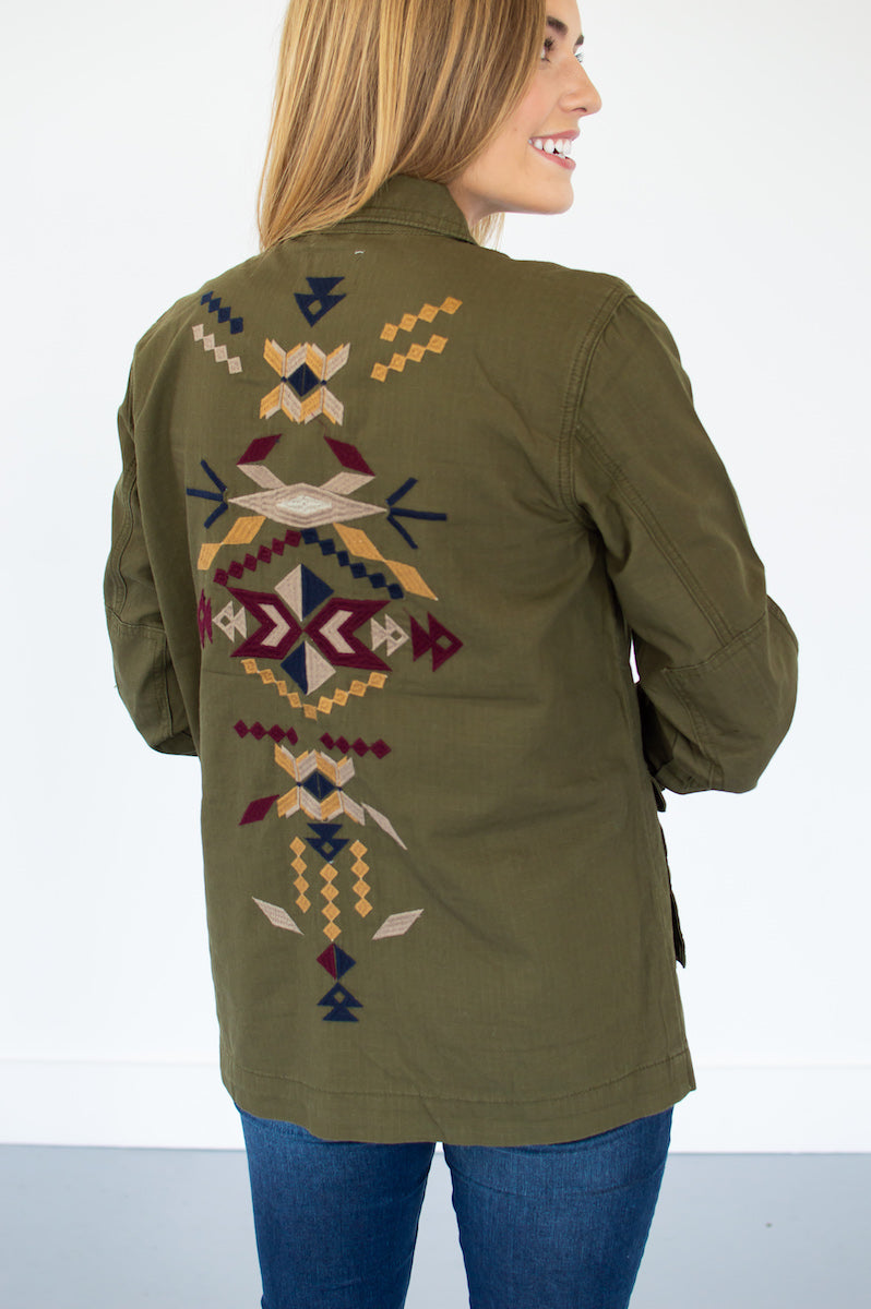 Embroidered Aztec Cargo Jacket | Olive - MOB Fashion Boutique