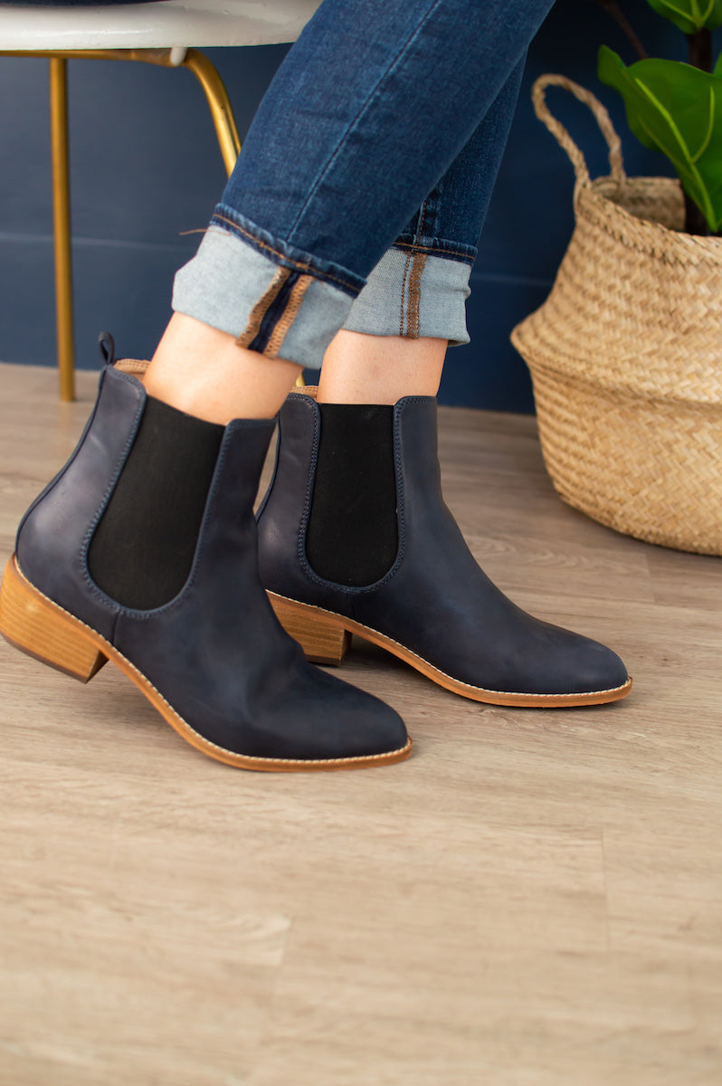 Oxford Boots | Navy - MOB Fashion Boutique