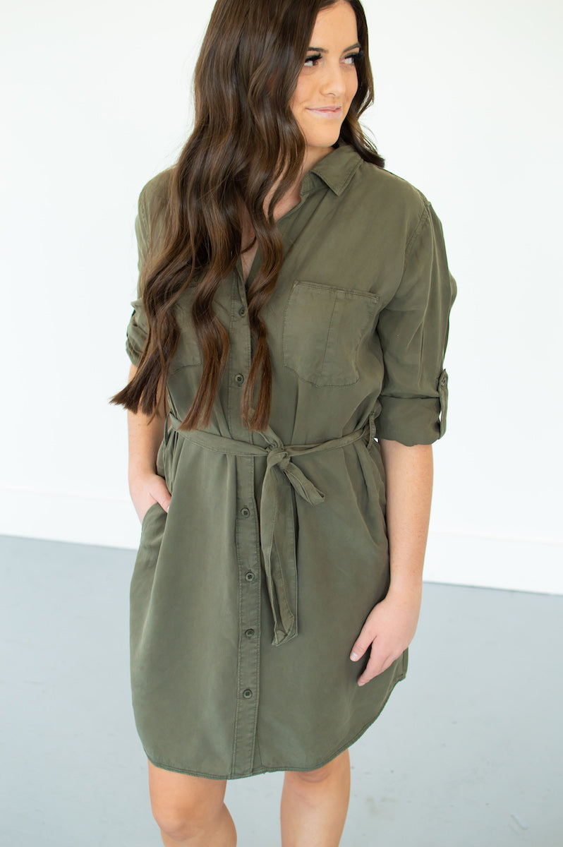 Cargo Button Down Dress - MOB Fashion Boutique