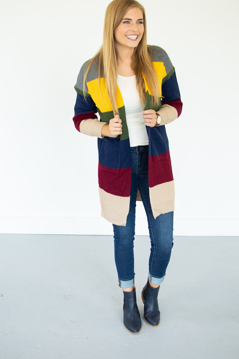 Walk the Line Color Block Cardi - MOB Fashion Boutique