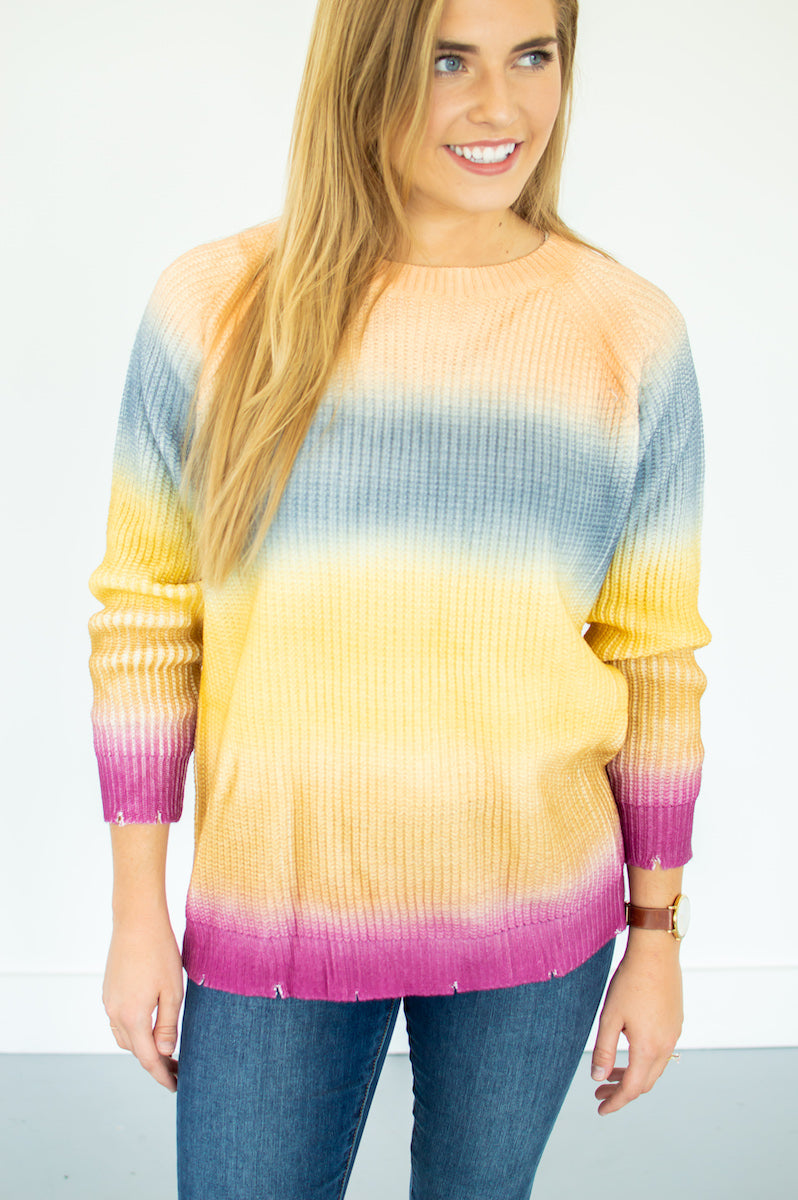 Ombrè Color Block Sweater - MOB Fashion Boutique