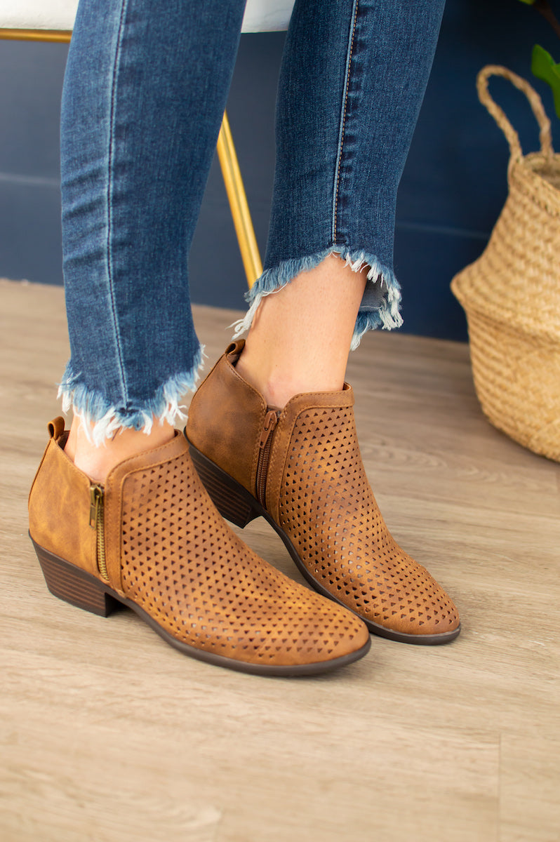 Carson Perforated Booties | Cognac - MOB Fashion Boutique