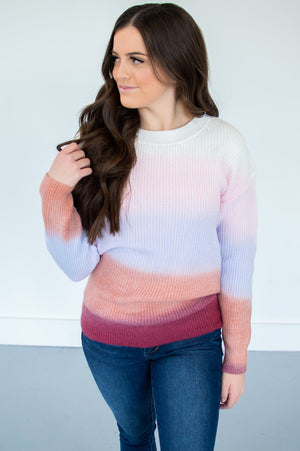 Mauve Ombre Color Block Sweater - MOB Fashion Boutique