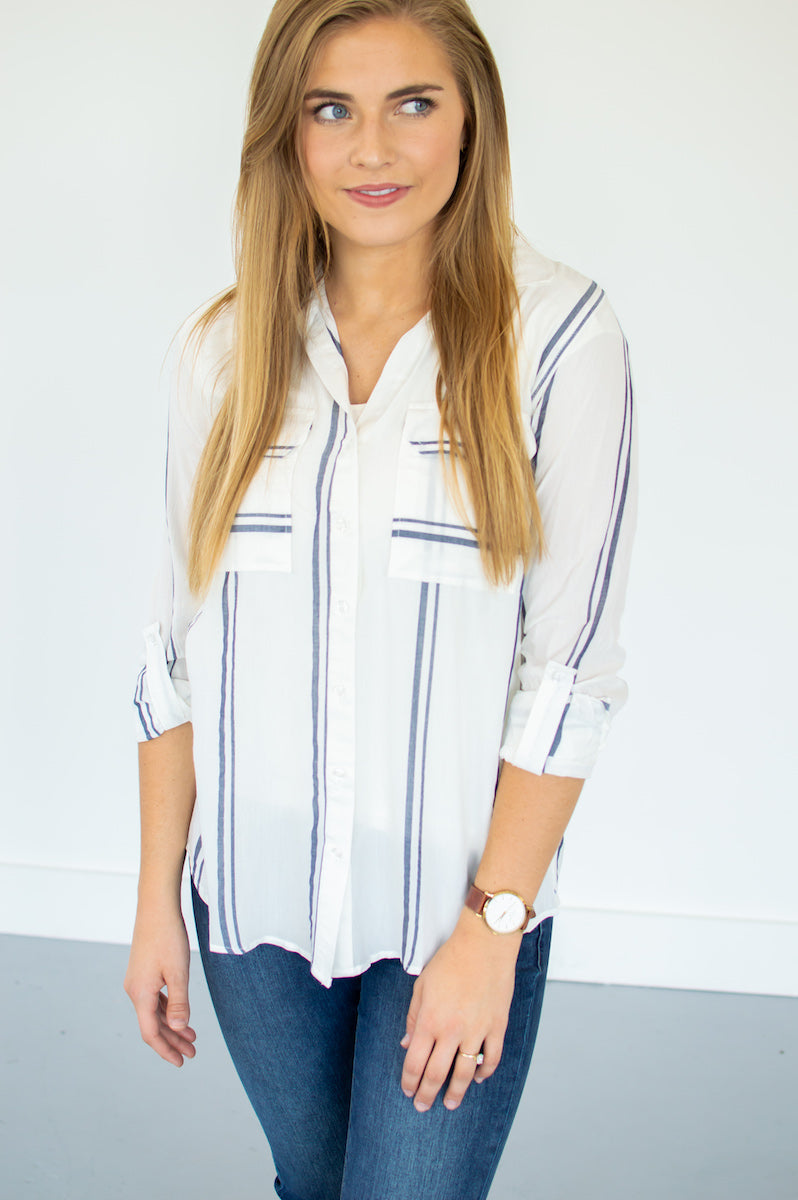 Navy Striped Button Down - MOB Fashion Boutique