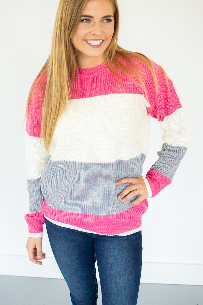 Pretty in Pink Color Block Sweater - MOB Fashion Boutique