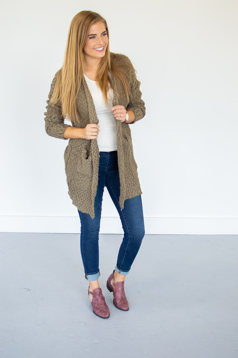 Popcorn Cardi | Olive - MOB Fashion Boutique