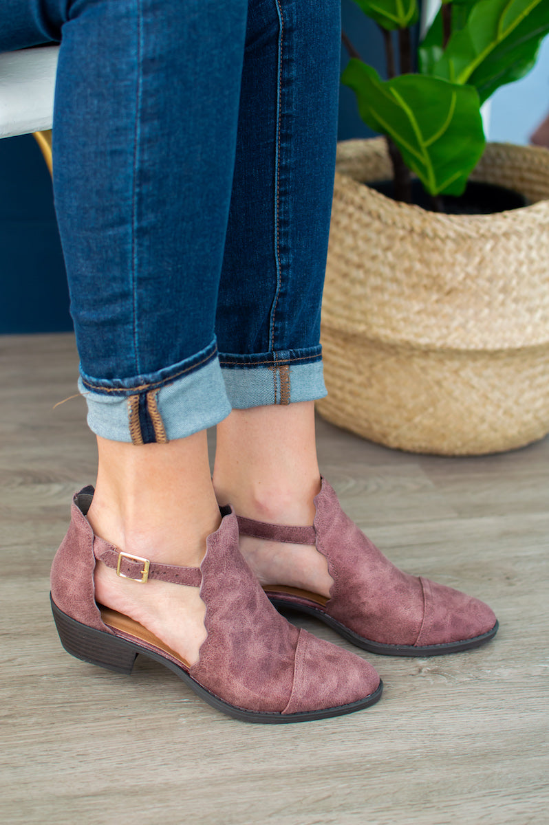 Deep Rose Scalloped Booties - MOB Fashion Boutique