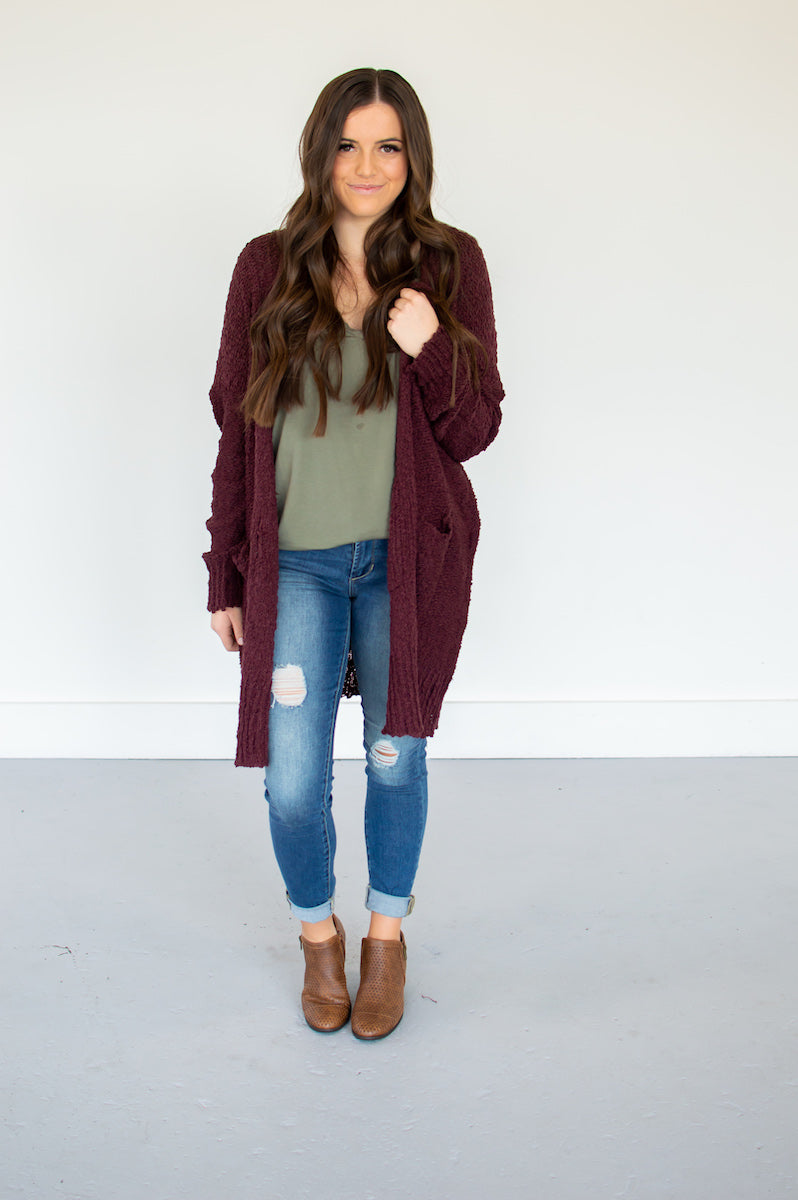 Popcorn Cardi | Burgundy - MOB Fashion Boutique