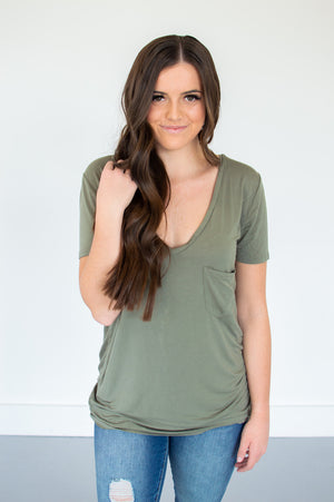 Olive Pocketed V-Neck - MOB Fashion Boutique