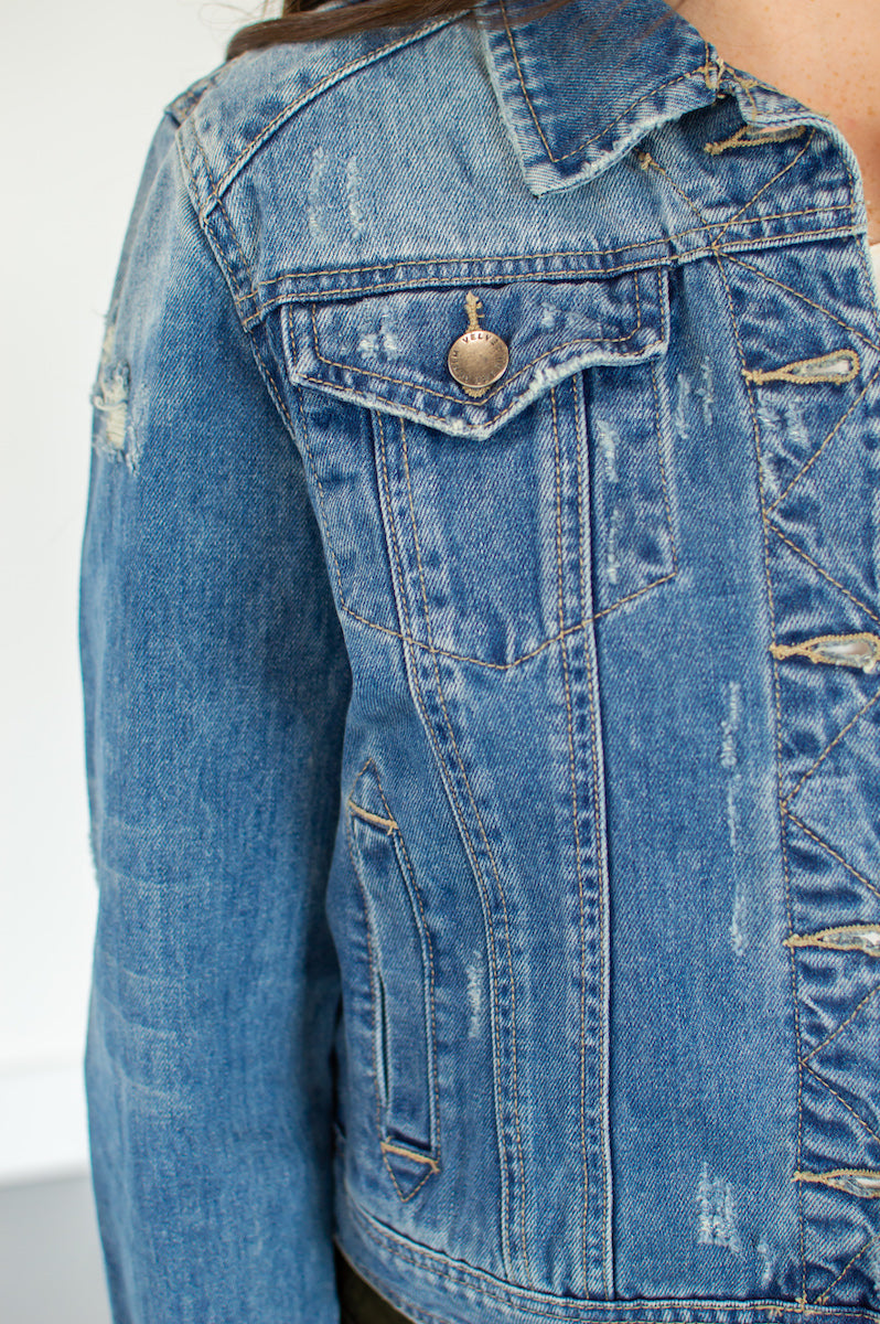 Distressed Denim Crop Jacket - MOB Fashion Boutique