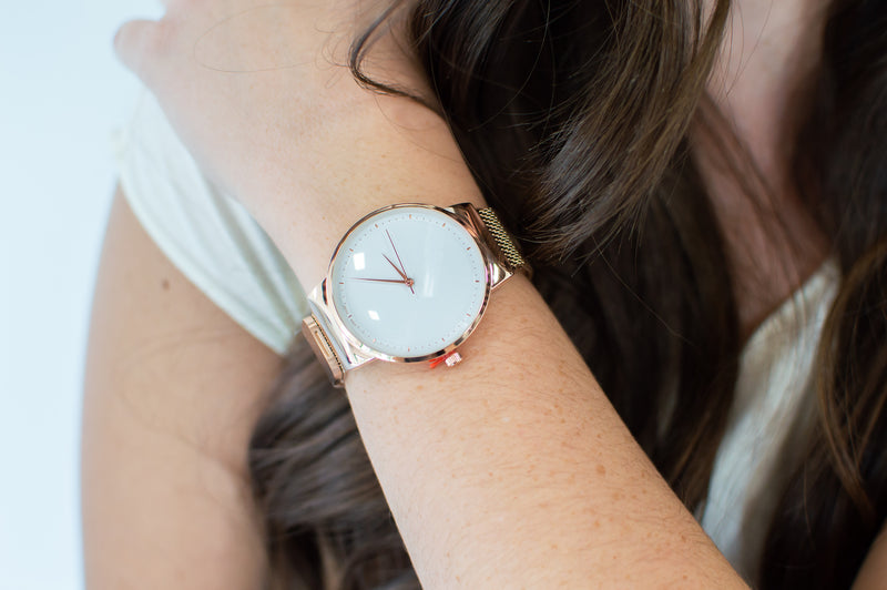 QRTZ Wrist Watch | Large Round White Face - MOB Fashion Boutique