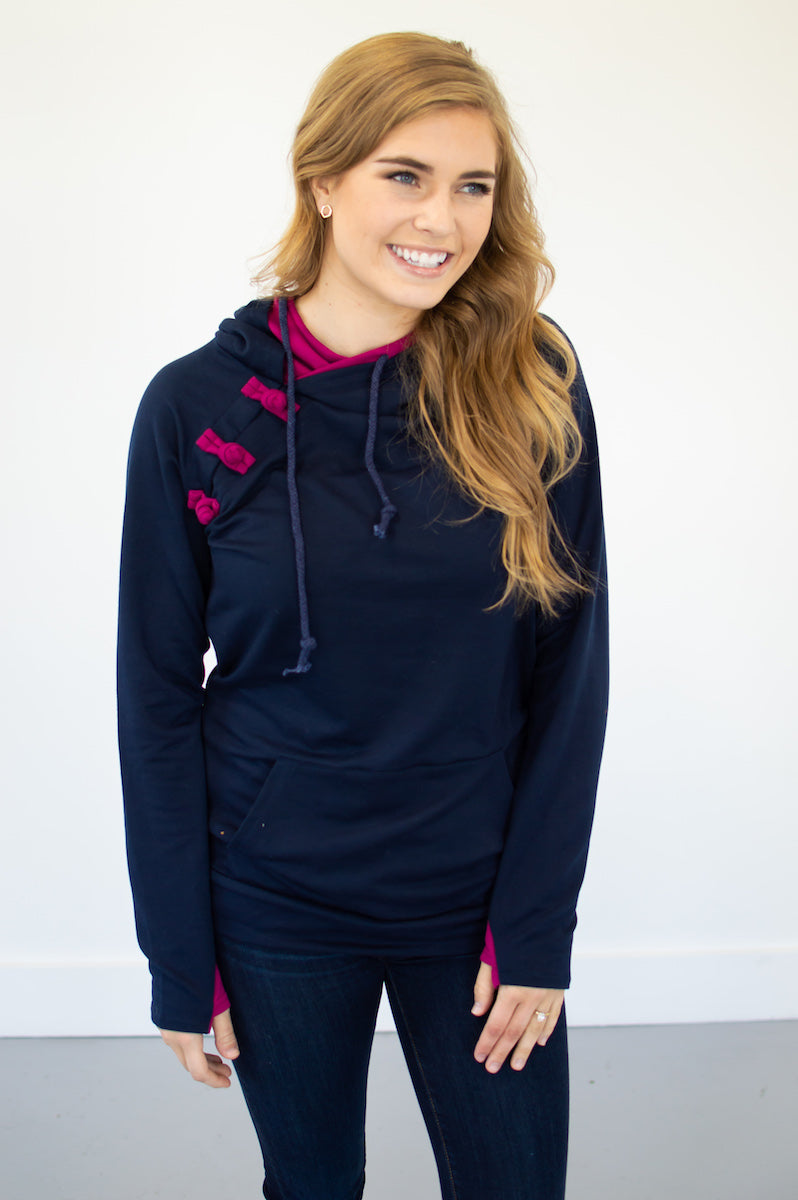 Navy and Magenta Hoodie with Nursing Option! [Pre-Order] - MOB Fashion Boutique