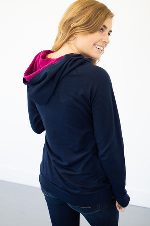 Navy and Magenta Hoodie with Nursing Option! - MOB Fashion Boutique