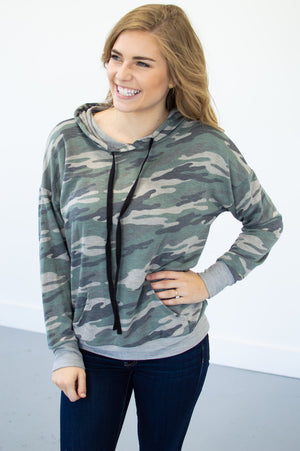 Dropped Shoulder Camo Hoodie - MOB Fashion Boutique
