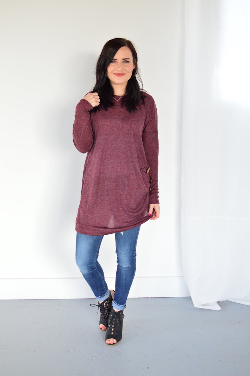 The Side Button Tunic | Burgundy - MOB Fashion Boutique