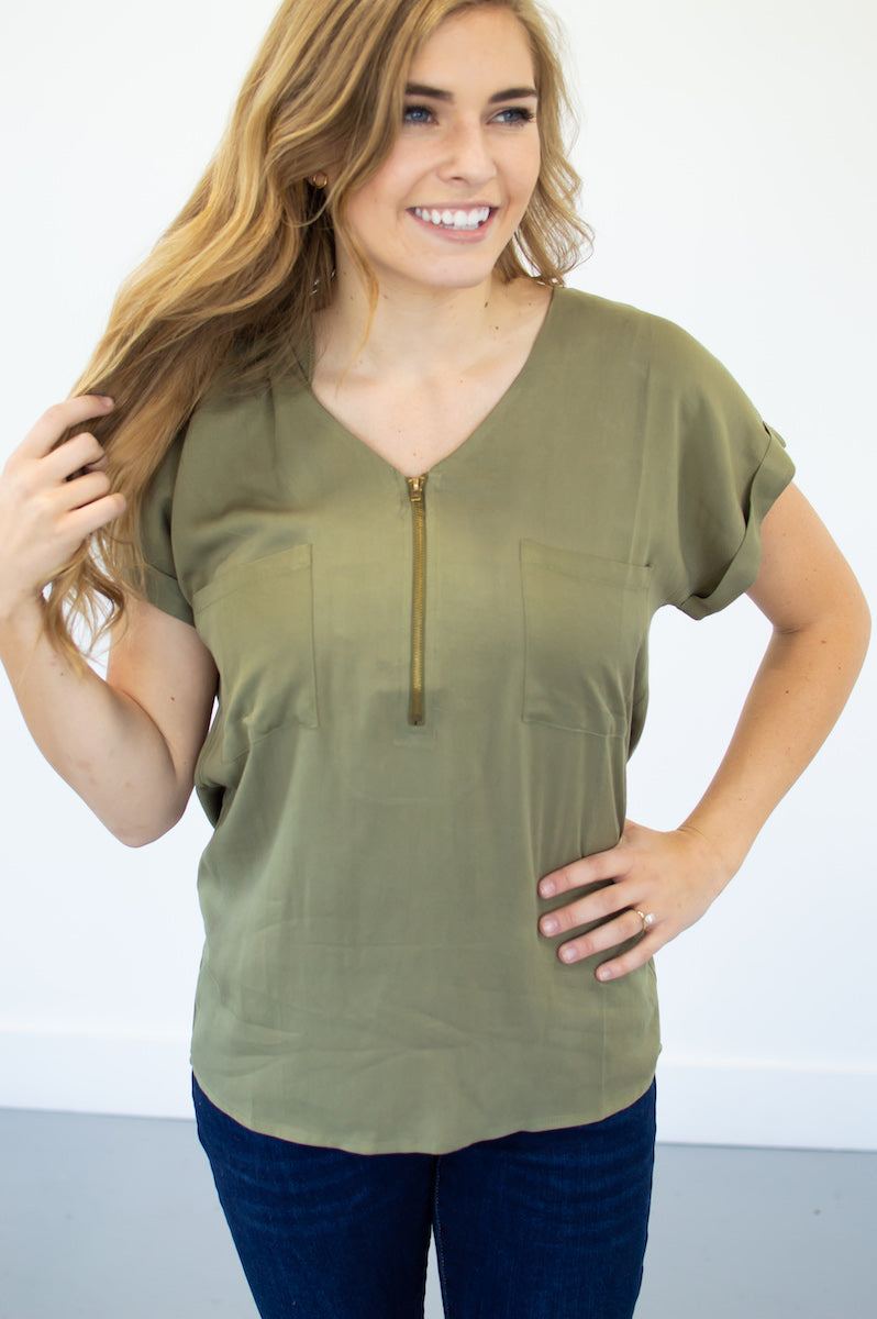 Classic Zipper Tee | Olive - MOB Fashion Boutique