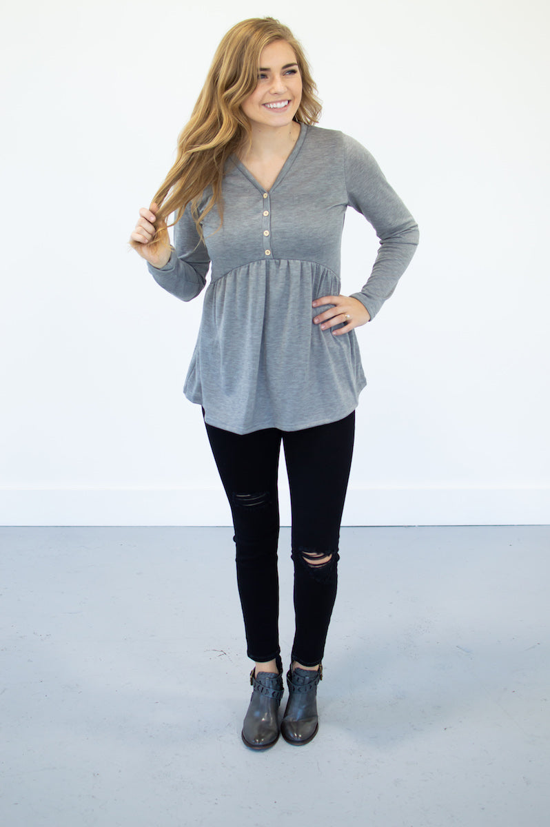 V-Neck Baby Doll | Grey - MOB Fashion Boutique
