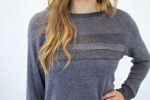 Color Block Stripes Sweater | Charcoal - MOB Fashion Boutique