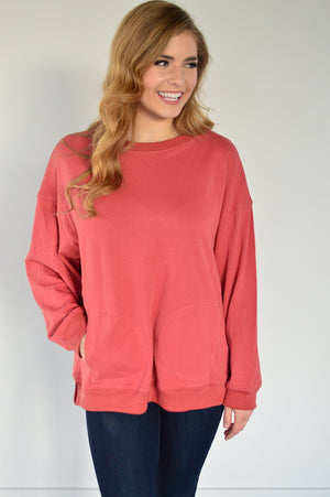 Kangaroo Pullover | Rich Coral - MOB Fashion Boutique
